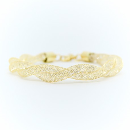 Pulseira de malha dourada com cristais